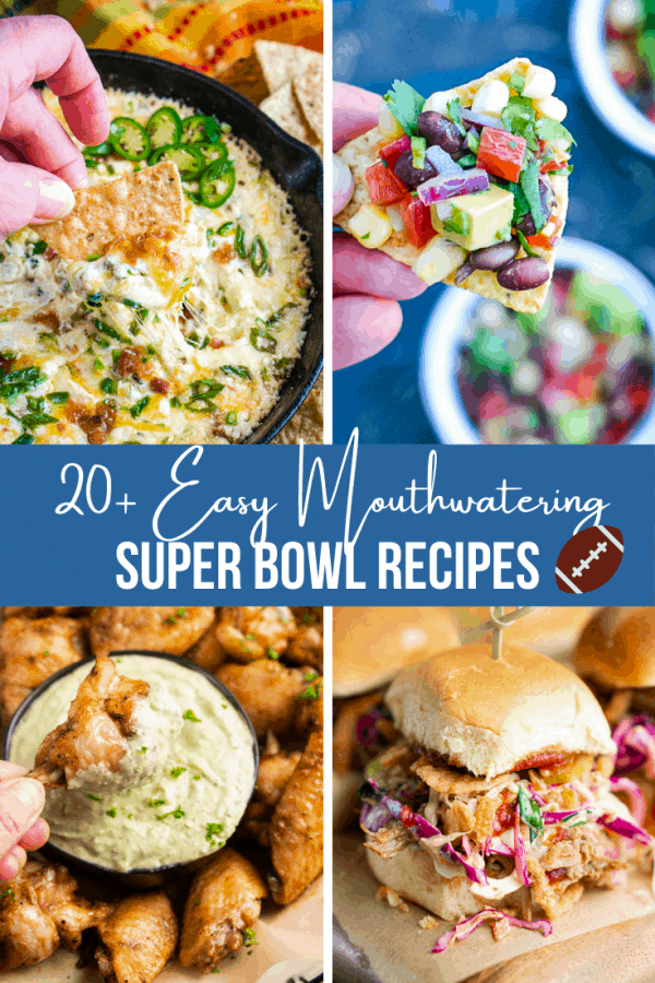 collage of super bowl foods with title text in center