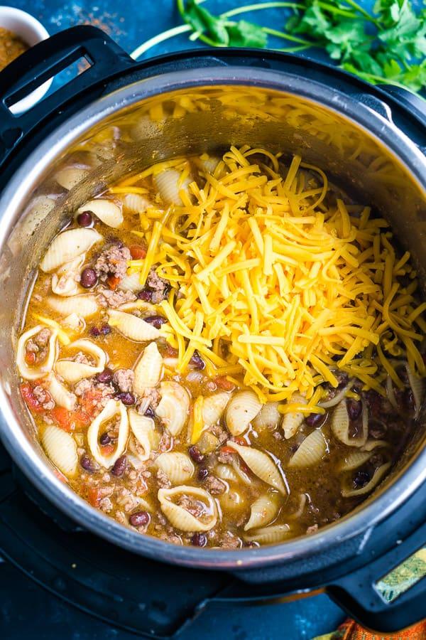 cheesy taco pasta in the Instant Pot