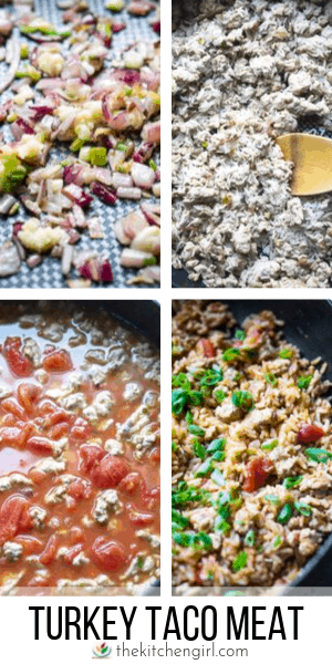 (top) process photos of turkey taco meat recipe being made (bottom) title text