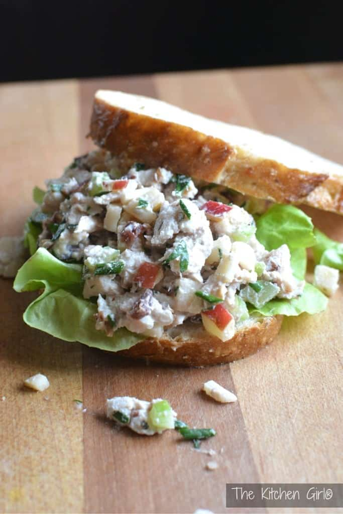 This healthy Turkey Waldorf Salad is crunchy, sweet, and savory with apples, walnuts, celery, and cranberries, in a creamy, lowfat dressing. Gluten-free. thekitchengirl.com
