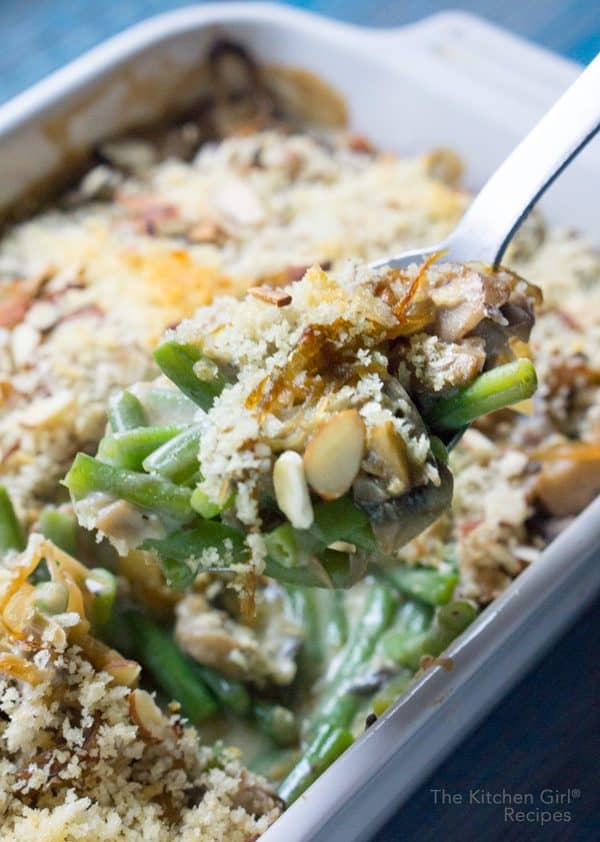 This vegan Green Bean Casserole recipe is creamy comfort food that's so easy to make! #vegan #greenbeancasserole #veganchristmas #veganthanksgiving #creamofmushroom