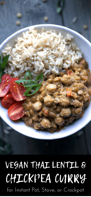 lentil chickpea curry, rice, tomatoes, and cilantro in white bowl on blue background with image title