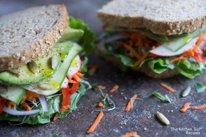 close up side view of two veggie sandwiches