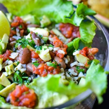 close-up of vegetarian burrito bowl
