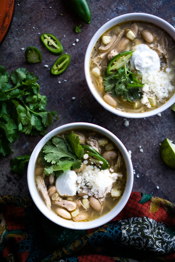white bowl of white bean chicken chili