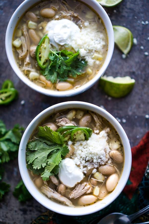 white bowl of white bean chicken chili