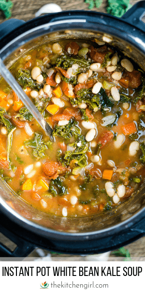(top) white bean kale soup in Instant Pot with ladle on wood table with scattered garlic and kale (bottom) title text