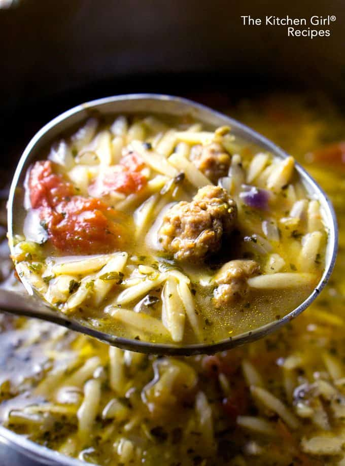 Comfort soup in 30 minutes! It's like Italian Wedding Soup with whole grain fiber! Whole Wheat Orzo Sausage Soup at thekitchengirl.com #orzosoup #orzo #30minutemeals