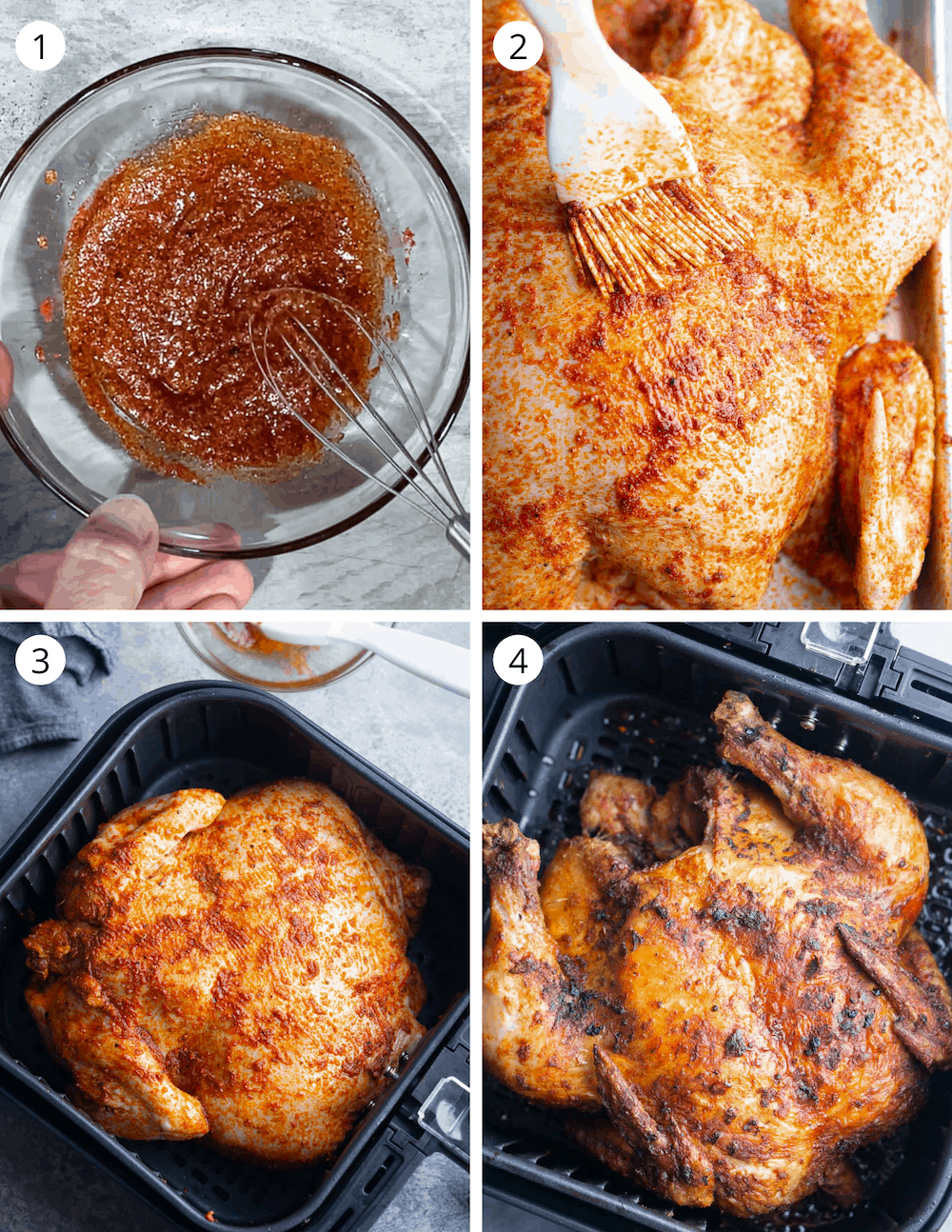 step by step process of how to cook whole chicken in an air fryer