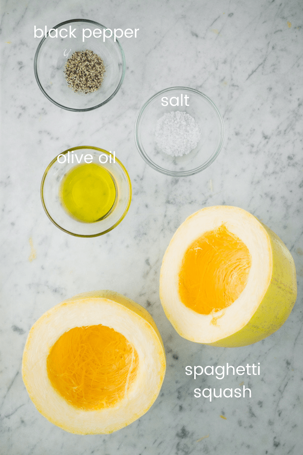 baked spaghetti squash ingredients in glass bowls with text overlay