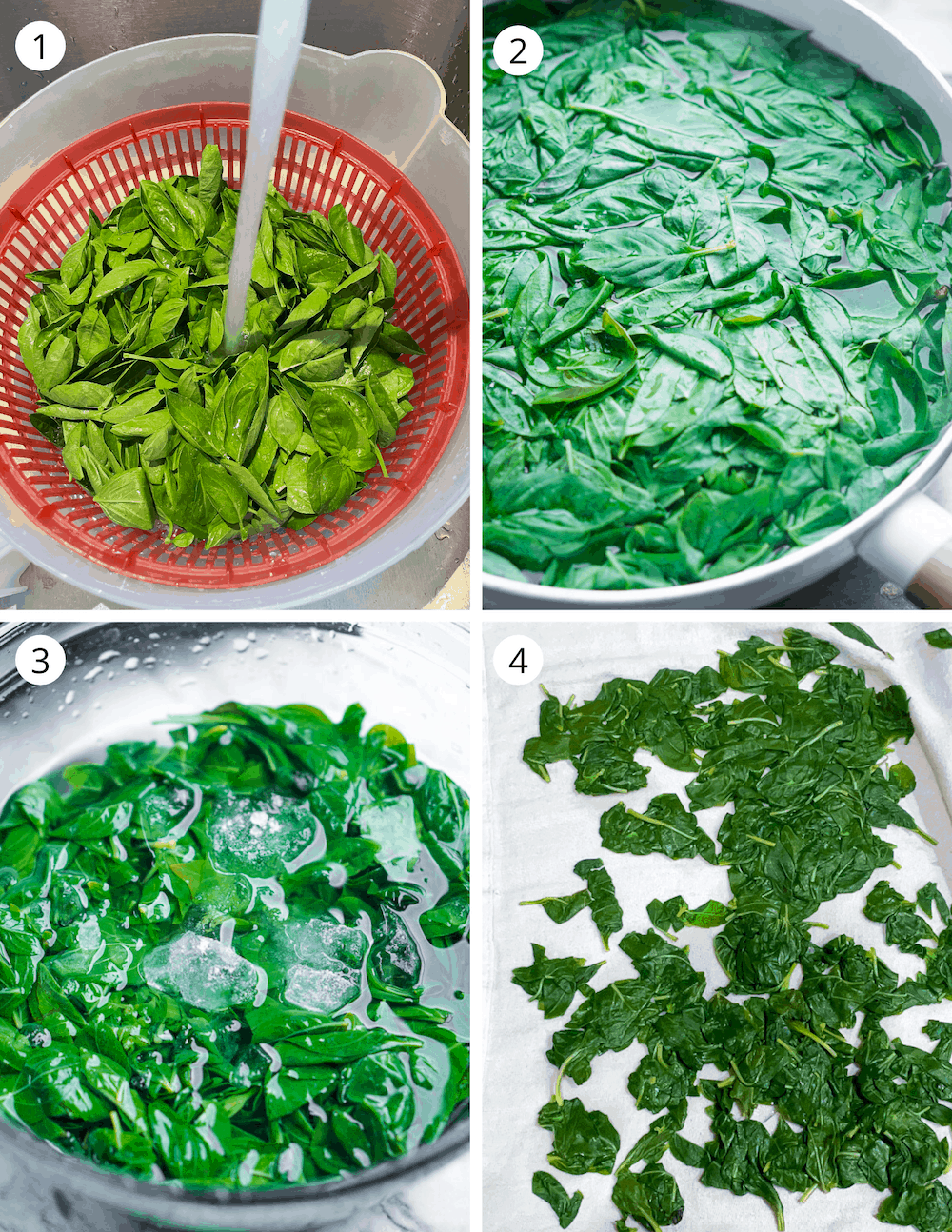 Step by step process of blanching basil for pesto