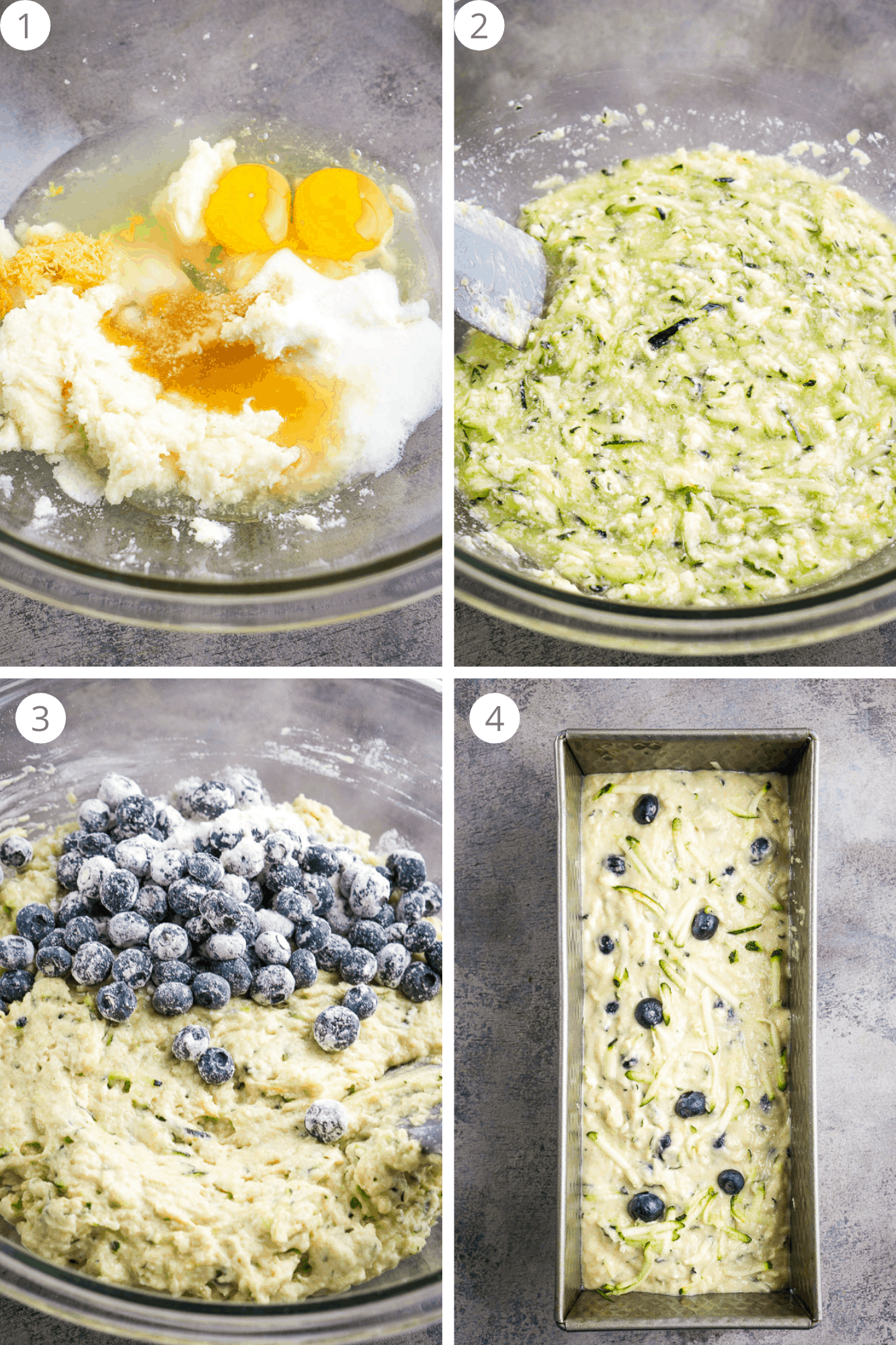 4 step process shots showing how to make blueberry zucchini bread