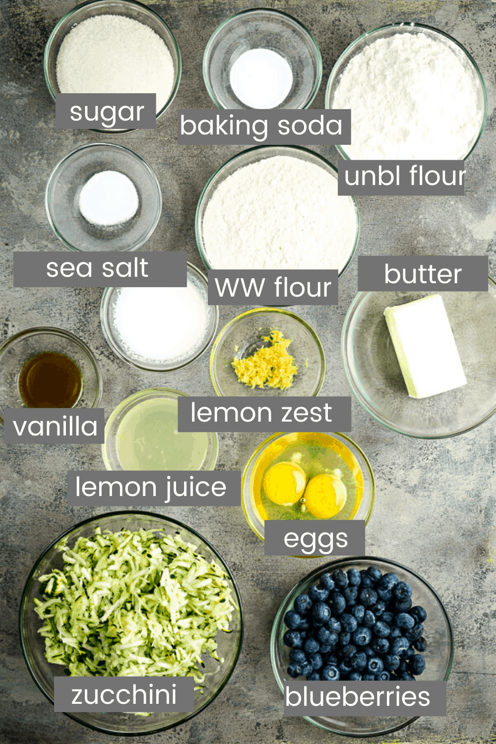 blueberry zucchini bread recipe ingredients in glass bowls with text overlay