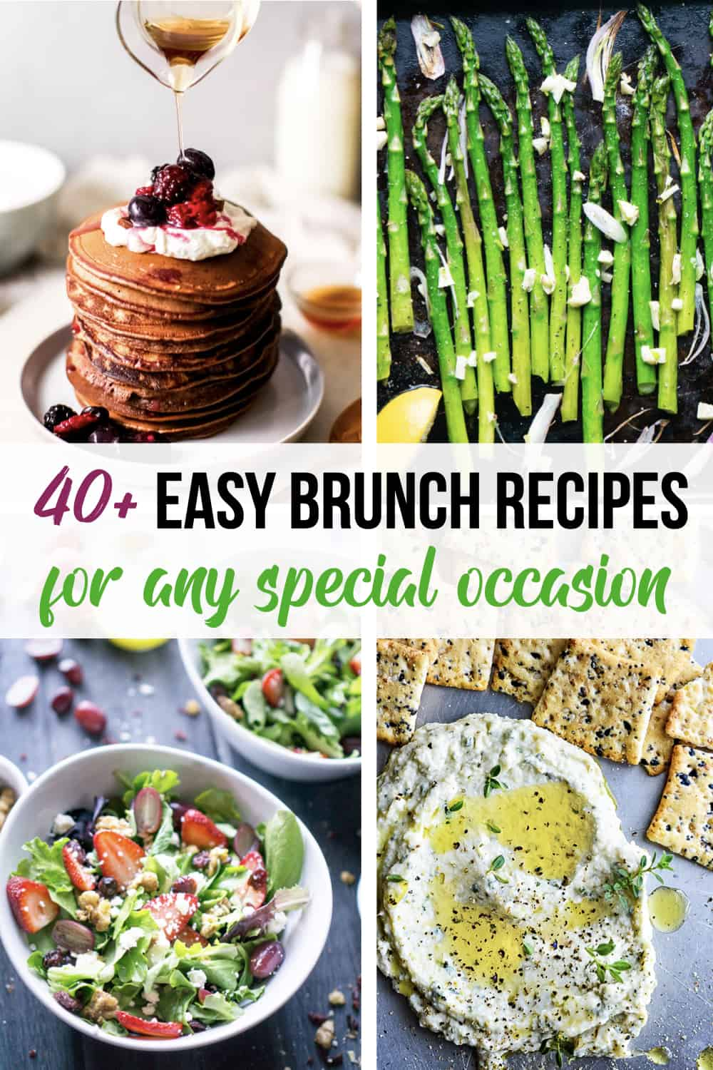 Image collage of 4 brunch recipes with title text overly