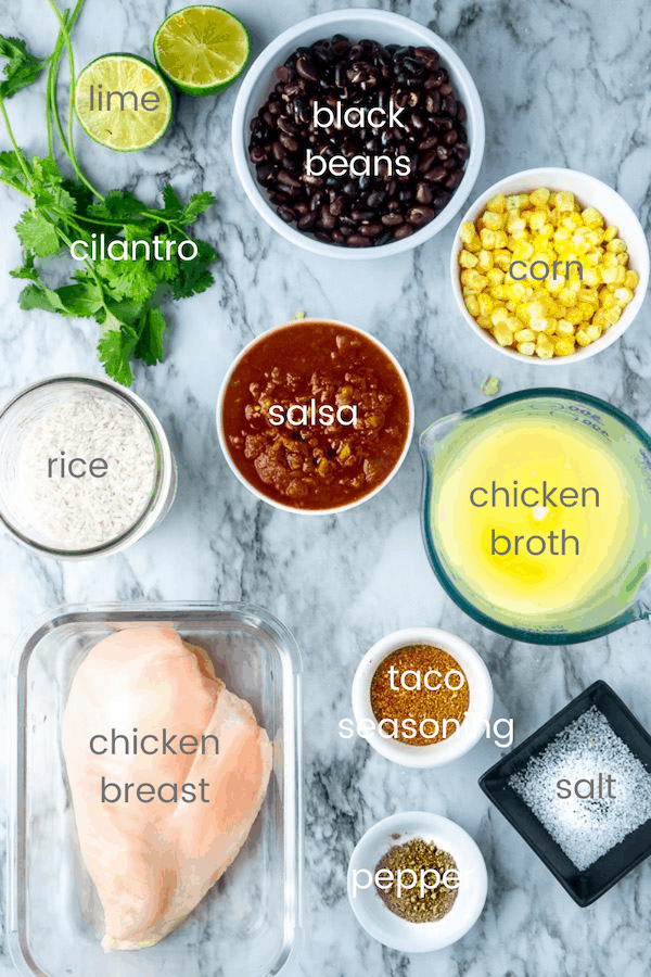 chicken burrito bowl ingredients labeled with text overlay