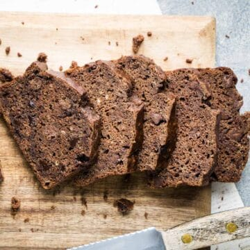 sliced chocolate banana bread laying on cutting board