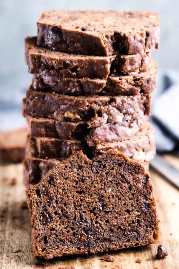 chocolate banana bread sliced and stacked