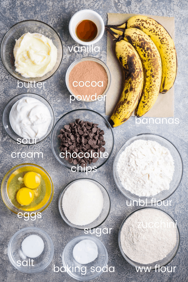 chocolate banana bread recipe ingredients in glass bowls with text overlay