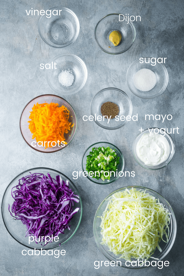 homemade coleslaw recipe ingredients in glass bowls with text overlay