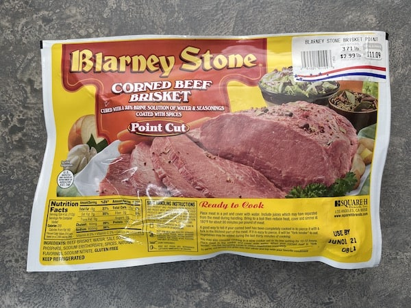 front side of corned beef in package