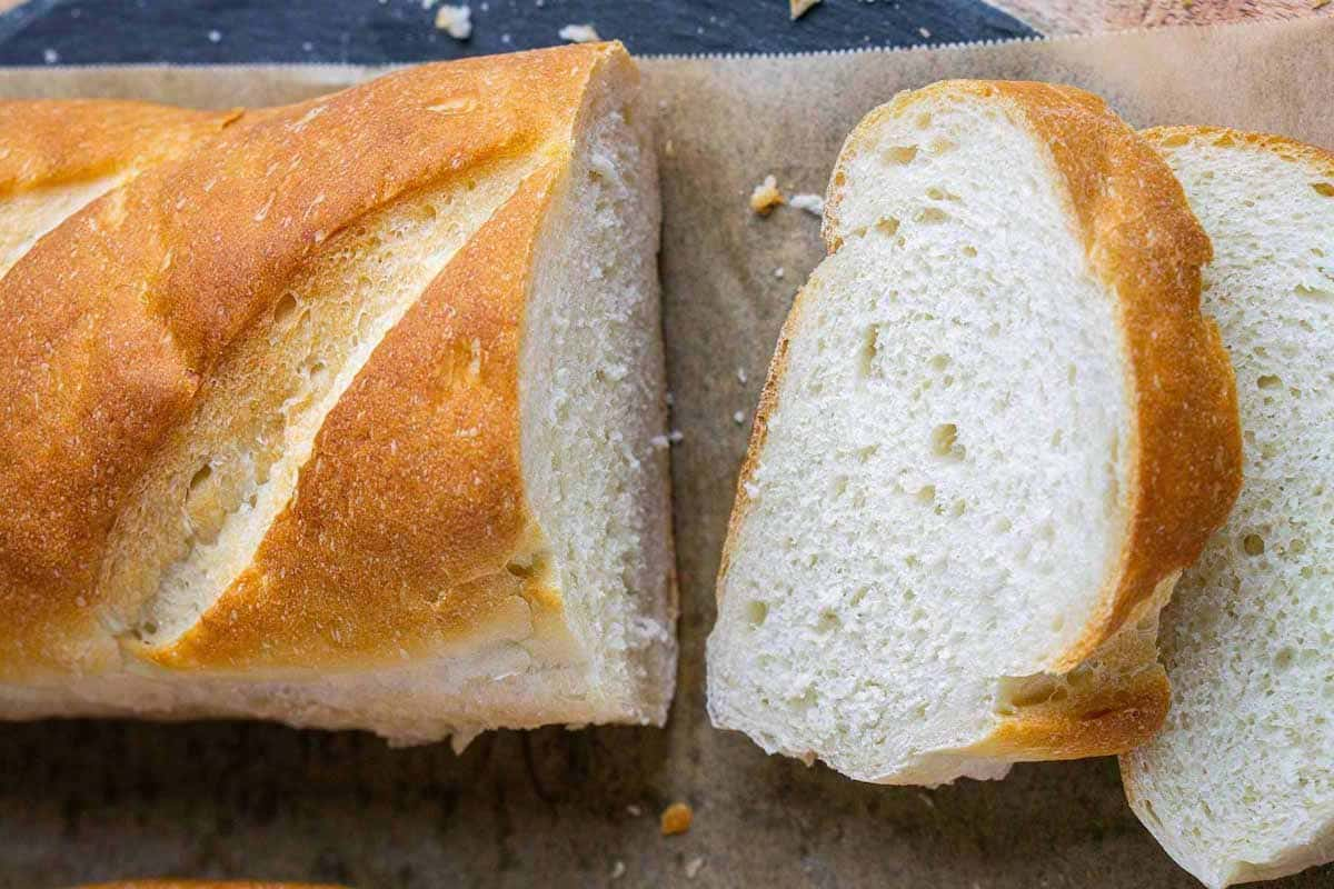 """french bread sliced into 1"""" thick pieces"""