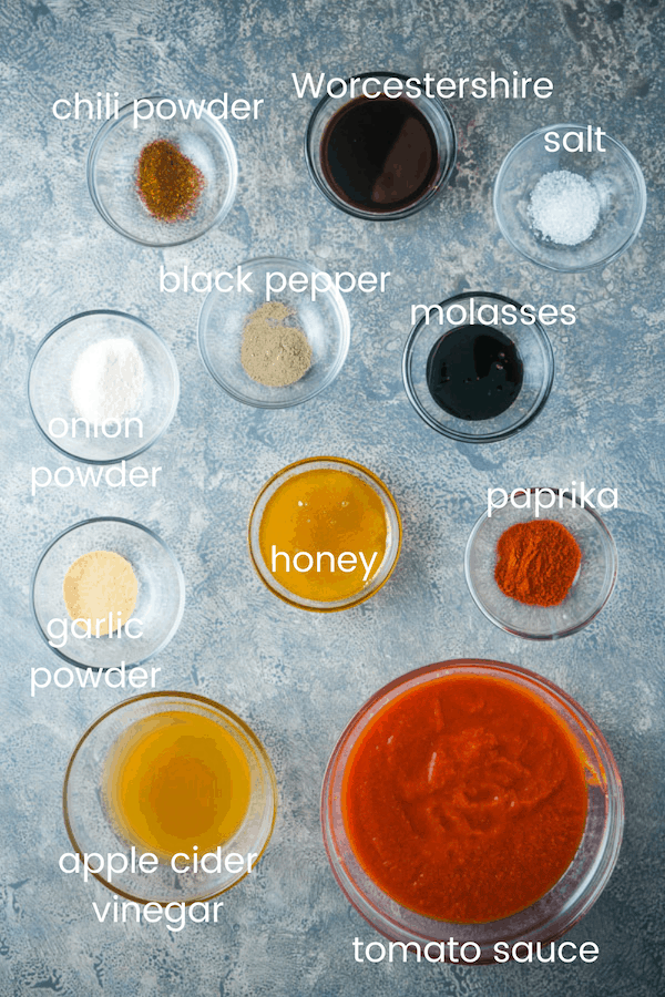 homemade barbecue sauce ingredients in glass bowls with text overlay
