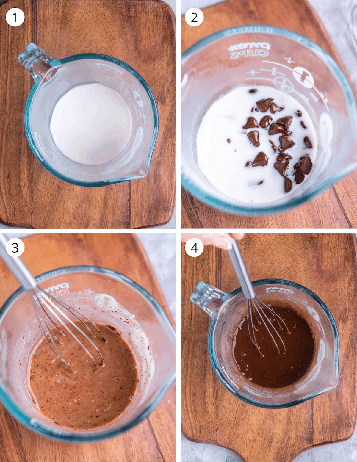 4 image collage of how to make chocolate chip ganache