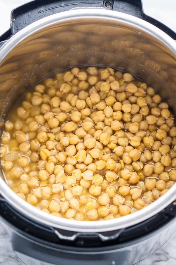 cooked Instant Pot chickpeas (garbanzo beans) in chickpea juice