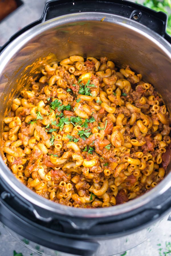 Chili Mac in the instant pot on gray surface