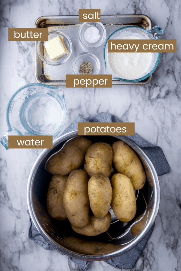 Instant Pot mashed potatoes ingredients in glass bowls with text overlay