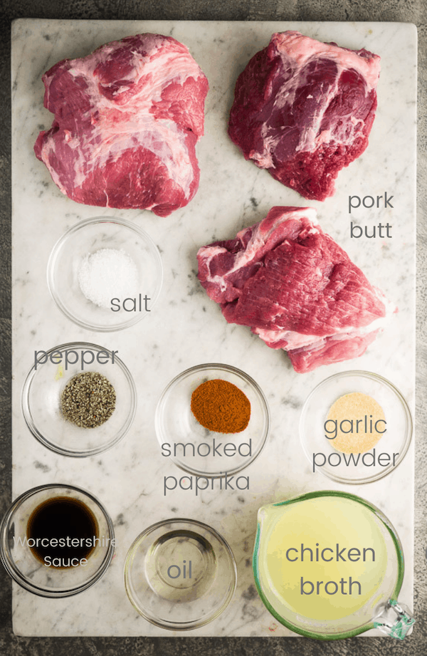 pulled pork ingredients in individual glass bowls labeled with text overlay
