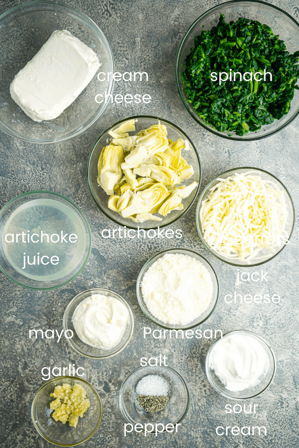 Instant Pot spinach artichoke dip ingredients in individual glass bowls with title text overlay