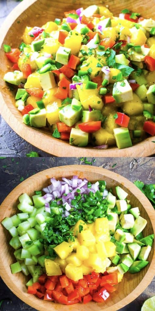 (top) mango salsa in wood bowl (bottom) mango salsa ingredients piled separately in wood bowl