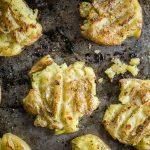 baked smashed potatoes on sheet pan