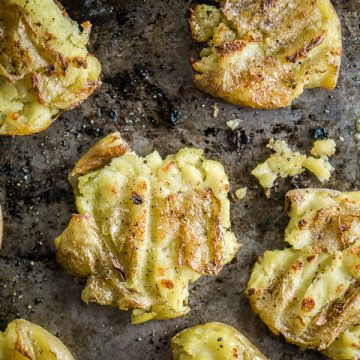 baked smashed potatoes on sheet pan