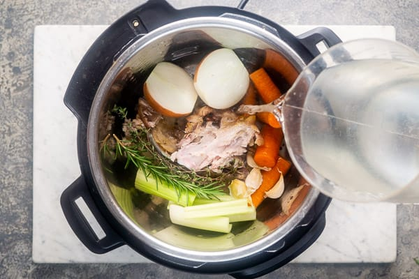 Turkey stock ingredients inside Instant Pot