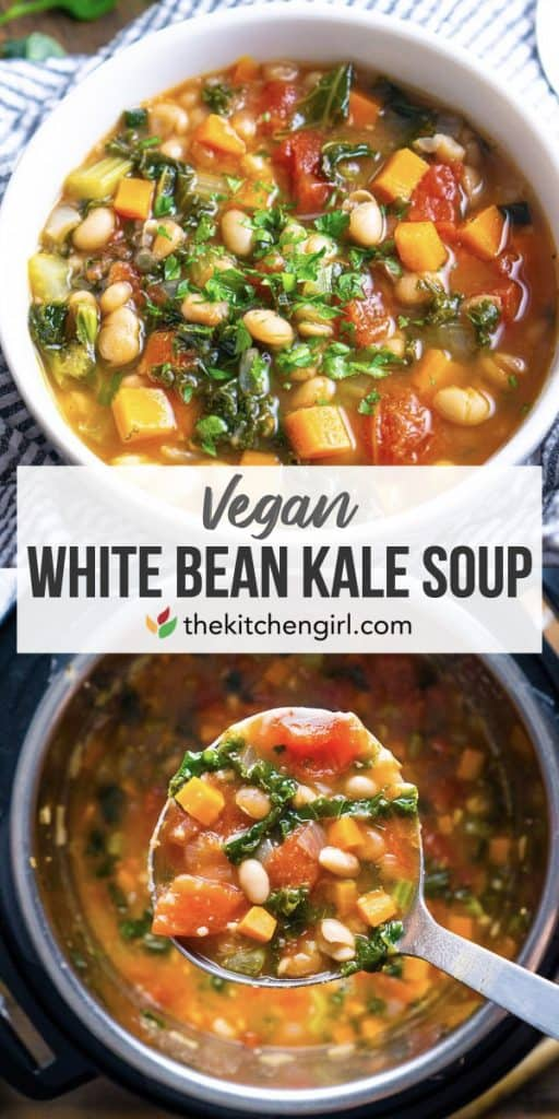 (top) white bowl of white bean kale soup (center) title text (bottom) Stainless steel ladle of white bean and Kale soup over Instant pot full of soup